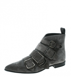 ccb521ff036 Burberry Grey Suede Milner Buckle Detail Pointed Toe Ankle Boots Size 39