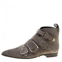 6f2773fe90a Burberry Grey Suede Milner Buckle Detail Pointed Toe Ankle Boots Size 40