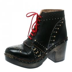 cab6cf64f6f Burberry Black Studded Leather Antrim Fringe Detail Block Heel Clog Ankle  Boots Size 40