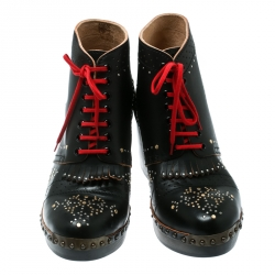 Burberry Black Studded Leather Antrim Fringe Detail Block Heel Clog Ankle Boots Size 40