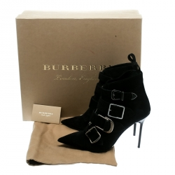 Burberry Black Suede Milner Buckle Detail Pointed Toe Ankle Boots Size 38