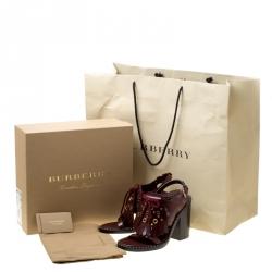 Burberry Burgundy Leather Beverley Eyelet Fringe Detail Block Heel Sandals Size 38