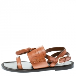 d2ae5a86387b Buy Burberry Cognac Brown Leather Bethany Tassel Detail Flat Sandals ...