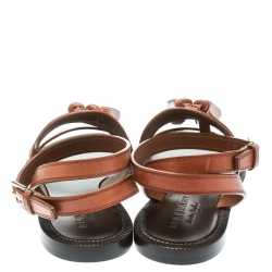 Burberry Cognac Brown Leather Bethany Tassel Detail Flat Sandals Size 40
