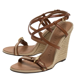 Burberry Brown Canvas and Leather Wyatt Wedge Sandals Size 39
