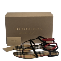 Burberry Black/Beige Nova Check Canvas and Leather Anthea Flats Sandals Size 38.5