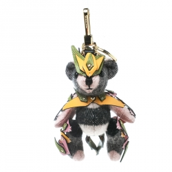 Burberry Multicolor Wool and Leather Thomas Armour Bear Key Ring / Bag Charm