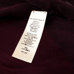 Burberry Deep Claret Checked Sheer Silk Chiffon Scarf