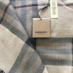 Burberry Beige Lightweight Check Wool and Silk Scarf