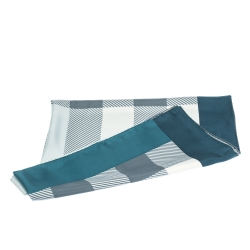 Burberry Blue & Teal Check Print Silk Square Scarf