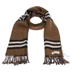 Burberry Brown Classic Check & Striped Merino Wool Fringed Muffler