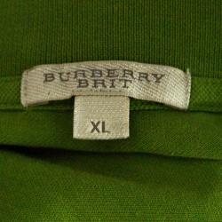 Burberry Brit Green Honeycomb Knit Short Sleeve Polo T-Shirt XL