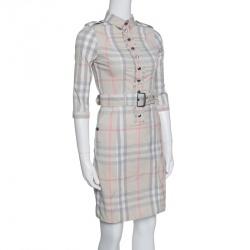 Burberry Brit Beige Novacheck Ruffle Detail Belted Dress XS