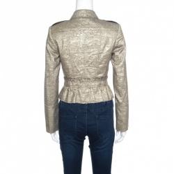 Burberry London Metallic Gold Ruffled Frayed Trim Cropped Jacket S