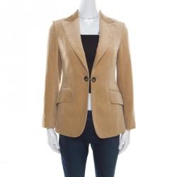 Burberry Camel Brown Velvet Single Button Slim Fit Blazer S 3791d279ca9e6