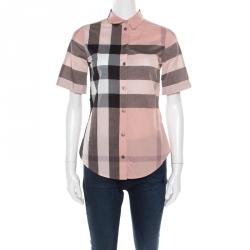 480aeba7a6d Burberry Brit Pink Checked Cotton Short Sleeve Shirt XXS