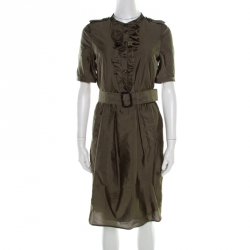 86ea93f9a Burberry London Olive Green Ruffle Trim Belted Short Sleeve Dress S