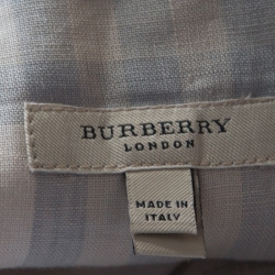 Burberry London Beige Checked Linen Belted Maxi Skirt L