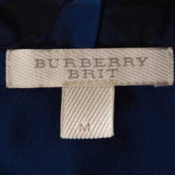 Burberry Brit Blue Honeycomb Knit Novacheck Collar Detail Polo T-Shirt M