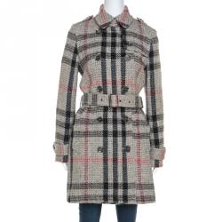 Burberry Brit Beige Plaid Knit Wool Tweed Coat M