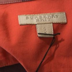 Burberry Brit Orange Checked Cotton Button Front Shirt S