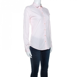 Burberry Pink Stretch Cotton Button Front Shirt XS