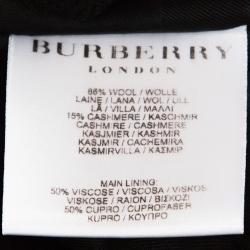 Burberry Prorsum Black Cashmere Blend Pleated Mid Length Coat M