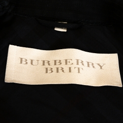 Burberry Brit Black Cotton Leather Sleeve Detail Belted Coat M