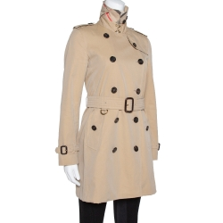 Burberry Beige Cotton The Kensington Belted Trench Coat S