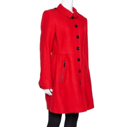 Burberry Brit Red Wool & Cashmere Single Breasted Coat L