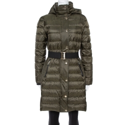 Burberry Olive Green Down Puffer Belted Abbeydale Coat M