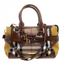 d0e846525e2 Burberry Gold/Brown House Check Fabric and Leather Small Gladstone Tote