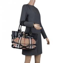 524fc32bbb5 Burberry Black House Check Fabric and Leather Small Gladstone Tote