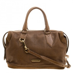 Burberry Brown Perforated Leather Medium Gilmore Satchel
