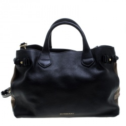 Burberry Black Leather and House Check Fabric Medium Banner Tote