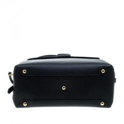 Burberry Black Leather and House Check Fabric Medium Camberley  Top Handle Satchel