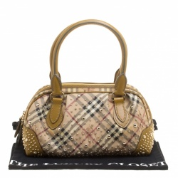 Burberry Beige Haymarket Check PVC and Leather Studded Satchel