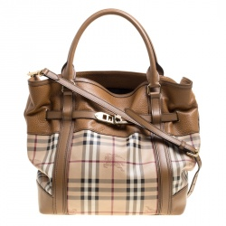 e08bc0780f3 Burberry Beige Tan Haymarket Check Canvas and Leather Medium Golderton Tote