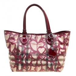 bc98c20018c9 Burberry Burgundy Supernova Heart Check Coated Canvas and Patent Leather  Large Tote