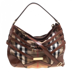 a684f9721f11 Burberry Brown House Check Canvas and Leather Small Bridle Dutton Hobo