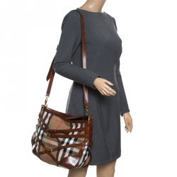 644f045cb015 Burberry Brown House Check Canvas and Leather Small Bridle Dutton Hobo