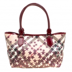 7e5dbc36f713 Buy Burberry Burgundy Supernova Heart Check Coated Canvas and Patent ...