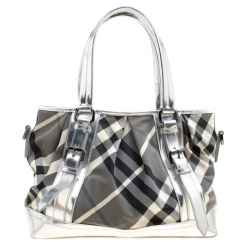 3d5f01278567 Burberry Silver Beat Check Nylon and Patent Leather Medium Lowry Top Handle  Bag
