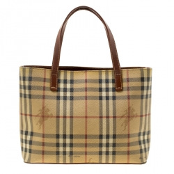 cdb44dafe59c Burberry Brown Haymarket Check Coated Canvas Mini Tote