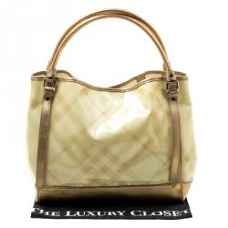 Burberry Cream/Gold Nova Check PVC and Leather Tote