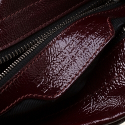 Burberry Burgundy Cartridge Patent Leather Lowry Top Handle Bag