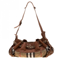 28222831f3a6 Burberry Brown Beige Leather and Quilted House Check Margaret Shoulder Bag