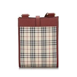 Burberry Brown/Red House Check Canvas And Leather Crossbody Bag