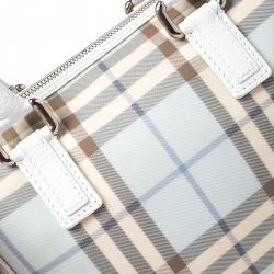 Burberry White/Blue Nova Check PVC Small Chester Boston Bag