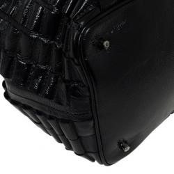 Burberry Black Patent Leather Cartridge Pleat Tote